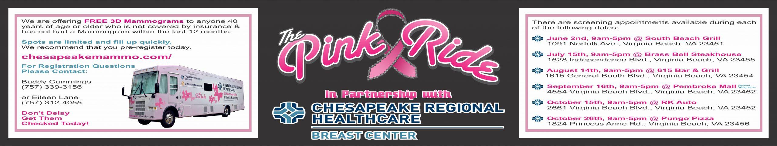 2021 Pink Ride Chesapeake Regional Healthcare Free Mammogram Event